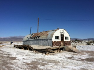 abandon laundromat in the desert
