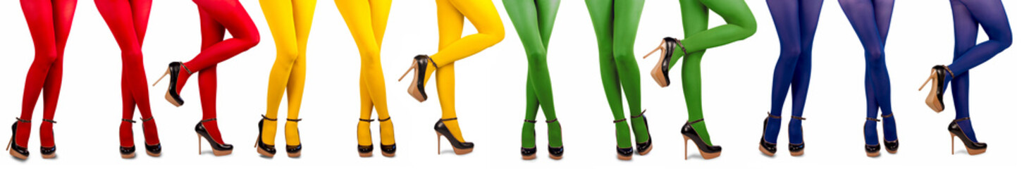 female legs in multicolored stockings
