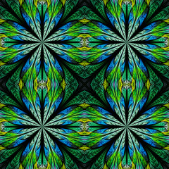 Symmetrical pattern in stained-glass window style. Blue and gree
