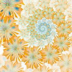 Spiral flower background. Yellow palette. Computer generated gra
