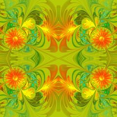 Flower pattern. Orange and green palette. Fractal design. Comput