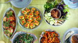 Top view of Thai cuisine dishes, famous international food poster