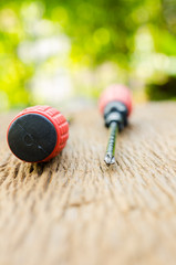 two red screw driver on wooden table with green background