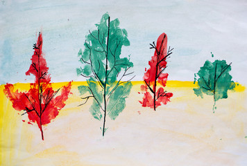 Autumn forest, watercolor painting