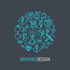 Vector linear graphic design concept