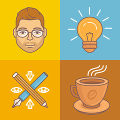 Vector graphic designer icons and signs