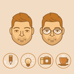 Vector graphic designer portrait and avatar in trendy linear sty