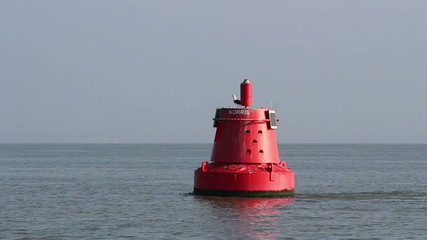 Gulls fly off navigational buoy