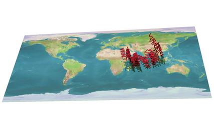 Viral text multiplies over world map