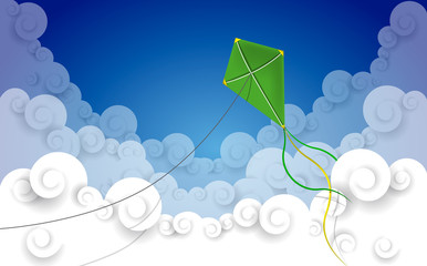 Kite flying in a cloud sky with wind