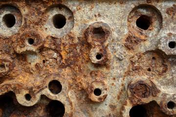 Closeup of rusty metallic surface