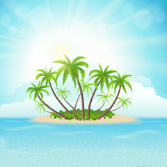 Tropical island with palm trees, sky, clouds and sun