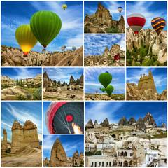 Hot air balloons in Cappadocia, Turkey. Collage