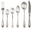 Aged vintage silver fork, knife, spoons - 81361611