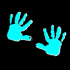 two children turquoise palm prints on black background