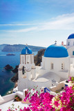 Fototapety view of caldera with blue domes, Santorini