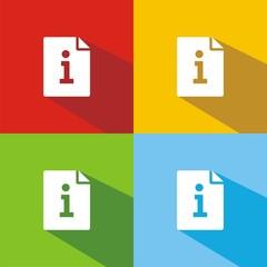 Iconos hoja de información colores sombra