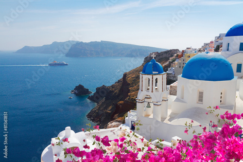 view of caldera with blue domes, Santorini - 81361851