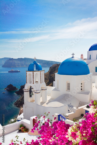 view of caldera with blue domes, Santorini Poster