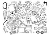 Hand drawn doodle stationery set, illustrator line tools drawing