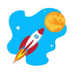 rocket soars into the sky color illustration