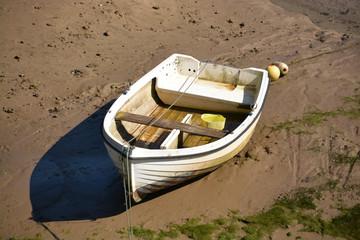 barca amarrada en la orilla de un rio