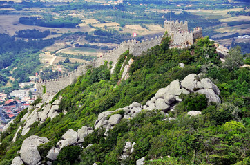 Aerial view of Castle of the Moors in Sintra