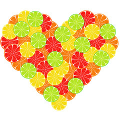 heart from citrus slice background