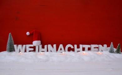 Weihnachtskarte - Weihnachten rot/weiß