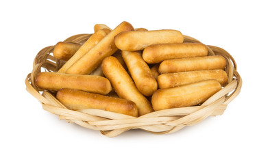 Bread sticks with salt in wicker basket