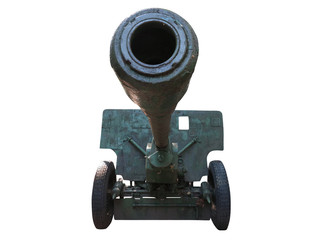 Old russian artillery cannon gun isolated over white