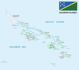 solomon Islands map with flag