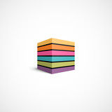 Fototapety Colorful striped cube icon