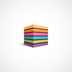 Colorful striped cube icon