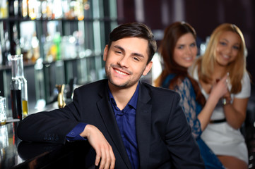 Young man in the bar