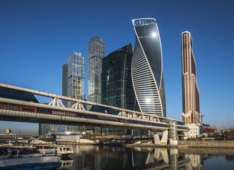 Город Москва. Деловой центр Москва-Сити на восходе.