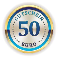 Goldener 50 Euro gutschein Button