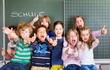 Leinwanddruck Bild - Einschulung Freude Kinder Schulkinder