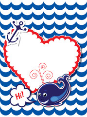 Funny Card with whale, anchor and empty frame for text on stripe