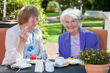 Cheerful Old Women Relaxing at the Garden Table.