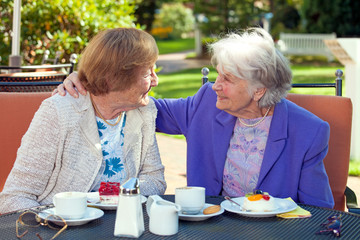 Cheerful Old Women Talking at the Outdoor Table.