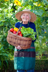 Old Woman with Basket of Vegetables at the Garden.
