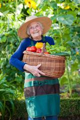 Happy Elderly Woman Holding Basket of Vegetables.
