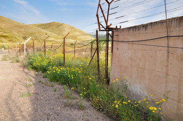 Boundary fence at the Israeli syrian border.