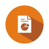 Icono hoja gráfico sectores naranja botón sombra