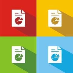 Iconos gráfico sectores colores sombra