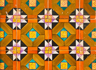 Typical Lisbon old ceramic wall tiles (azulejos)