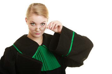 woman lawyer attorney wearing black green gown