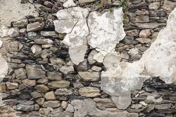 wall made of stones and cement
