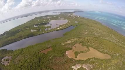 vista aerea manglar mar caribe laguna negra